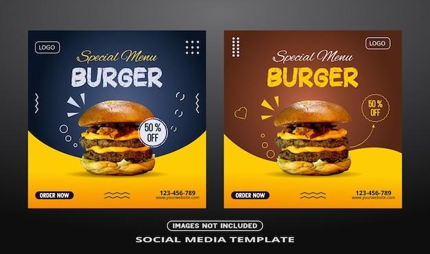 Banner social media per post di hamburger