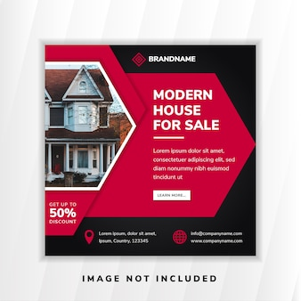 Banner di social media per casa moderna creativa in vendita