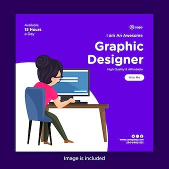 Modello di progettazione di banner di social media con ragazza graphic designer che lavora su un computer