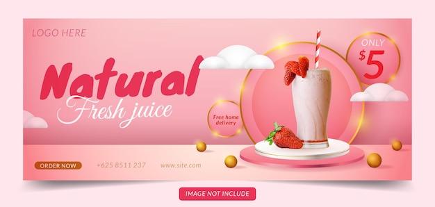 Banner di social media con display di prodotto 3d podio rosa e bianco