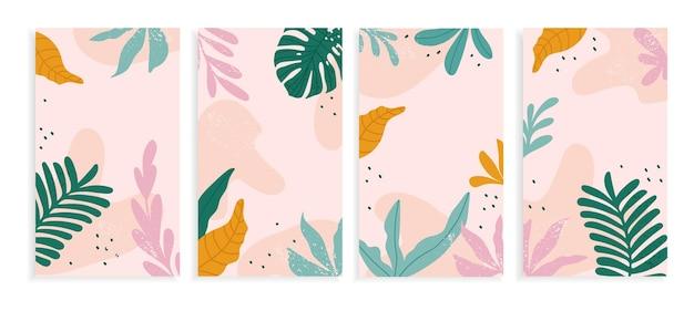 Banner di social media con forme astratte e foglie tropicali.
