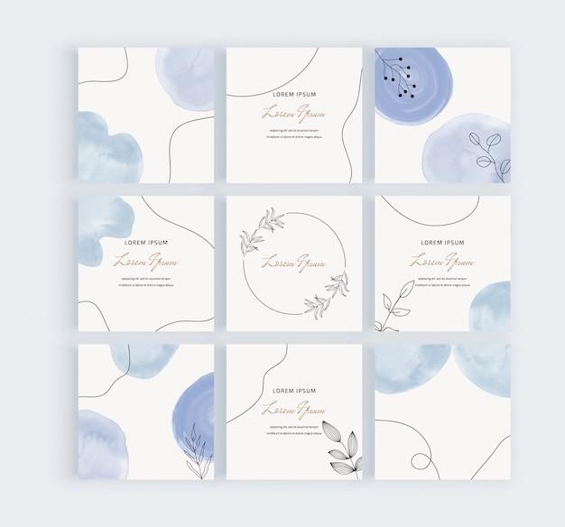 Banner di social media con forme ad acquerello blu dipinte a mano geometriche a mano libera, linee nere e foglie.