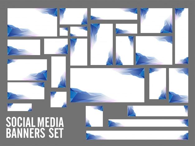 Banner social media con elemento poligonale blu. Vettore Premium