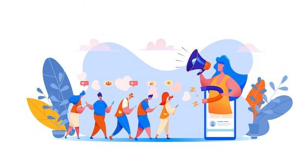Social media, gestione blog con ragazza da smartphone che attira seguaci.