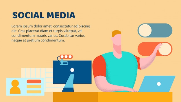 Modello dell'insegna di vettore piatto di blogging di media sociali