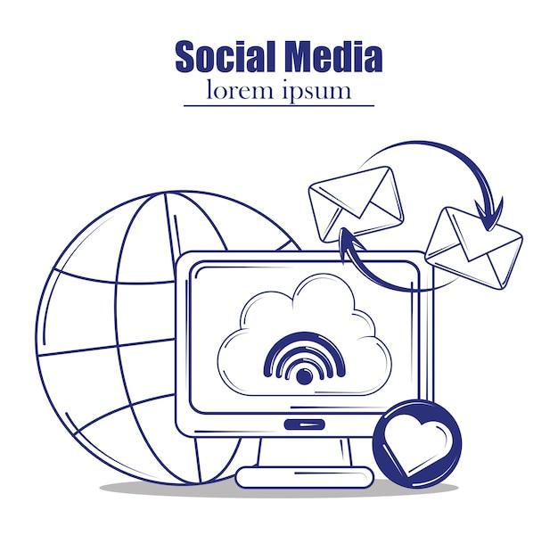 Illustrazione di stile di riempimento della linea blu dei social media
