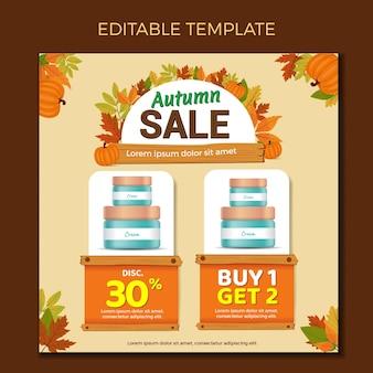 Modello di progettazione di mailer per catalogo di social media saldi d'autunno