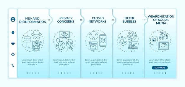 Sfide sui social media per il modello di inserimento dei giornalisti. preoccupazioni relative alla privacy. filtra le bolle. sito web mobile reattivo con icone. schermate di passaggio della procedura guidata della pagina web.