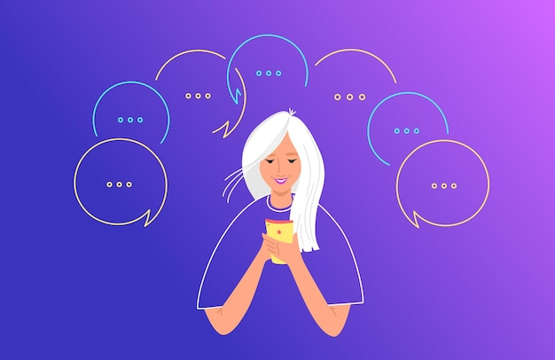 Illustrazione piana di vettore di concetto di comunicazione e chat di social media. adolescente che utilizza smartphone mobile per inviare messaggi di testo, lasciando commenti nell'app dei social network. giovane donna con fumetti intorno