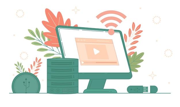 Concetto di social media e cloud computing, seo, saas, app e illustrazione di sviluppo web