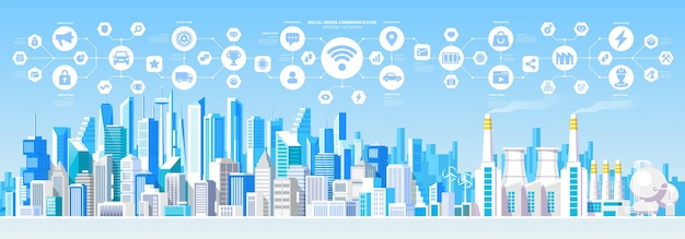 Social media comunicazione internet network connection city skys