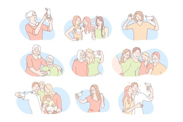 Comunicazione sui social media, concetto di selfie set