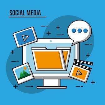 Foto di video di commento di computer di media sociali