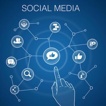 Concetto di social media, sfondo blu. mi piace, condividi, segui, commenta le icone