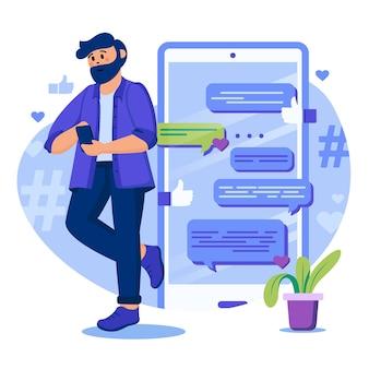 Illustrazione del concetto di social media con personaggi in design piatto