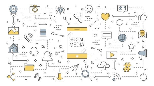Ilustration di concetto di media sociali. comunicazione globale, condivisione di contenuti e feedback. utilizzo di reti per la promozione aziendale. strategia di marketing. illustrazione al tratto
