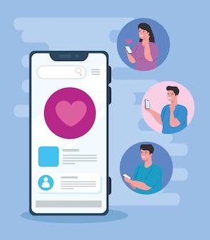 Concetto di social media, persone che chattano in smartphone, comunicazione online