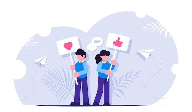 Concetto di social media. le persone stanno con segni che sollecitano a mettere like. interagire con i contenuti sui social media