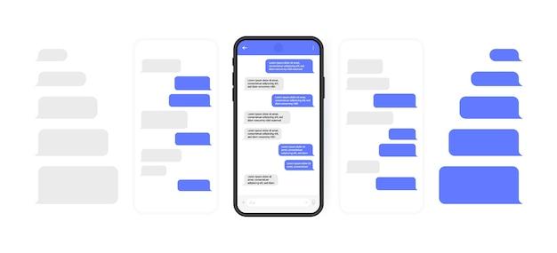 Concetto di social media. smart phone con schermata di chat di messenger a carosello. bolle di modello sms per comporre dialoghi. stile di illustrazione moderno.