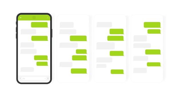 Concetto di social media. smart phone con schermata di chat di messenger a carosello. bolle di modello sms per comporre dialoghi. illustrazione moderna.