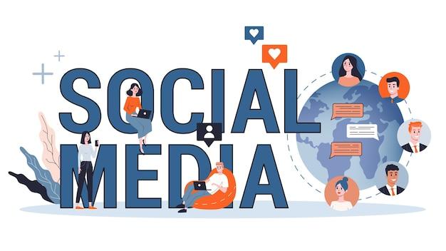 Concetto di social media. utilizzo della rete per la pubblicazione e la condivisione di contenuti. promozione in internet. illustrazione