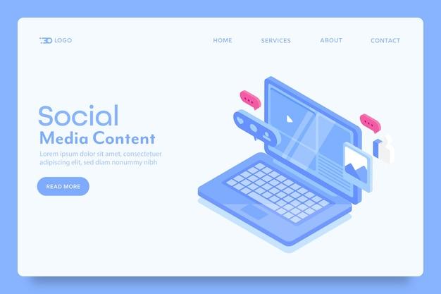 Pagina di destinazione del marketing dei contenuti dei social media