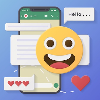 Conversazioni sui social media con bolle di chat ed emoticon grinning face.