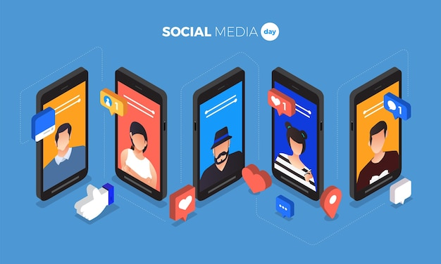 Illustrazione di social media day. connettere le persone con una tecnologia all'avanguardia.