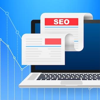 Concetto di design dei social media. icona di ricerca vettore. illustrazione di marketing digitale. web design. illustrazione di riserva di vettore