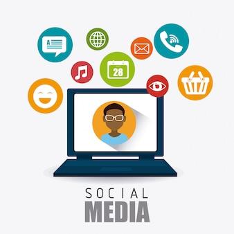 Progettazione di social media.