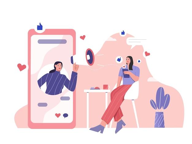 Il marketing digitale dei social media raggiunge l'illustrazione piatta dei consumatori