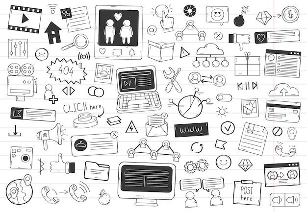 Elementi di scarabocchio dei social media. insieme dell'illustrazione di vettore isolato simboli social media disegnati a mano di rete. icone di doodle schizzo social network