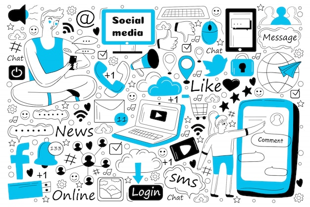 Insieme di doodle di social media
