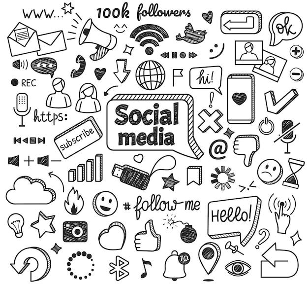 Scarabocchi di social media simboli di schizzo di rete e internet disegnati a mano blog di marketing digitale
