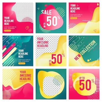 Banner modificabili sui social media. il web minimalismo offre immagini di modelli con posto per banner di invio di messaggi di testo