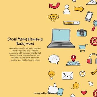 Sfondo di elementi di media sociali