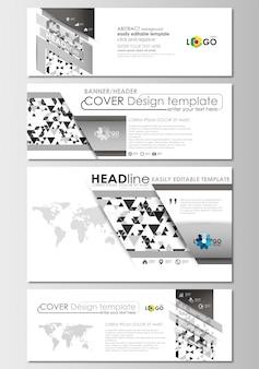 Set di intestazioni di social media e email, banner moderni. Vettore Premium