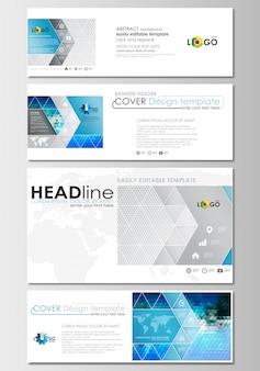 Set di intestazioni di social media e email Vettore Premium