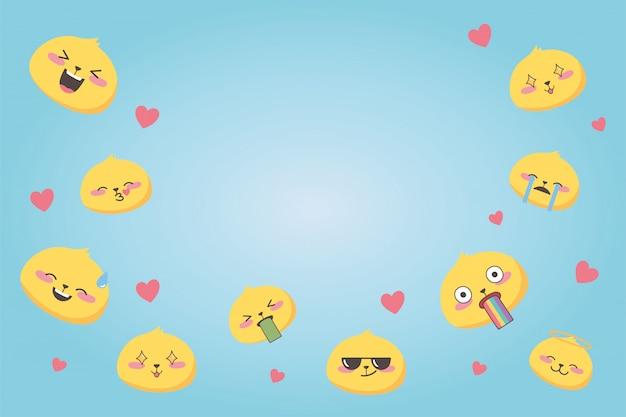 Espressioni emoji sui social media varie facce collezione di cartoni animati