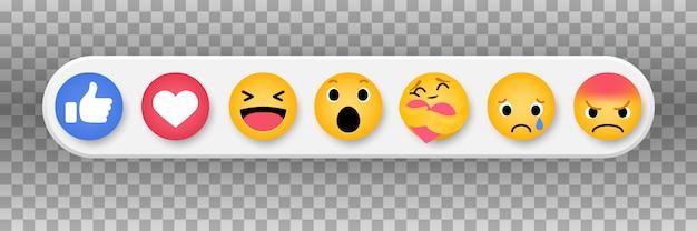 Raccolta di reazioni emoticon sui social media.