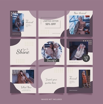 Social media fashion women puzzle feed template