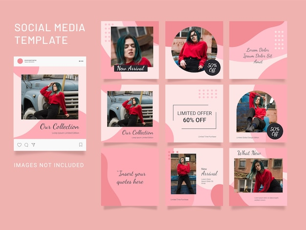 Social media fashion women puzzle template feed