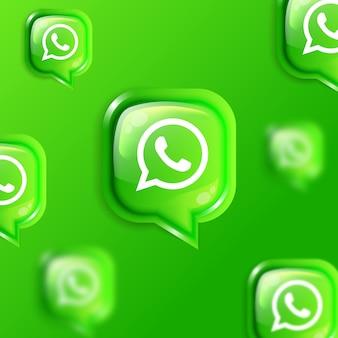 Banner di sfondo con icone whatsapp fluttuanti sui social media