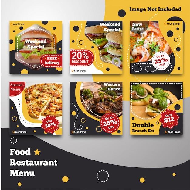 Modello di menu ristorante post instagram cibo social media Vettore Premium