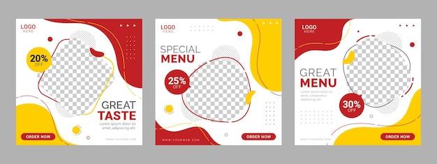 Modello di banner quadrato di social media ristorante cibo social media
