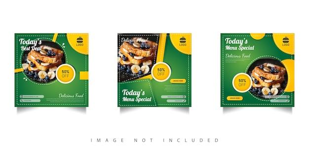 Modello di vendita di cibo per social media con gradazioni verdi