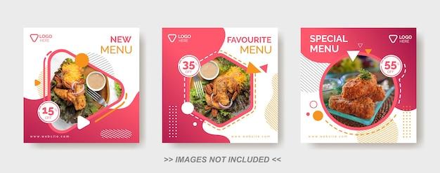 Modello di cibo per social media, modello di post sui social media per ristorante