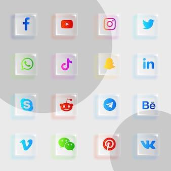 Pacchetto di raccolta di icone di vetro per social media