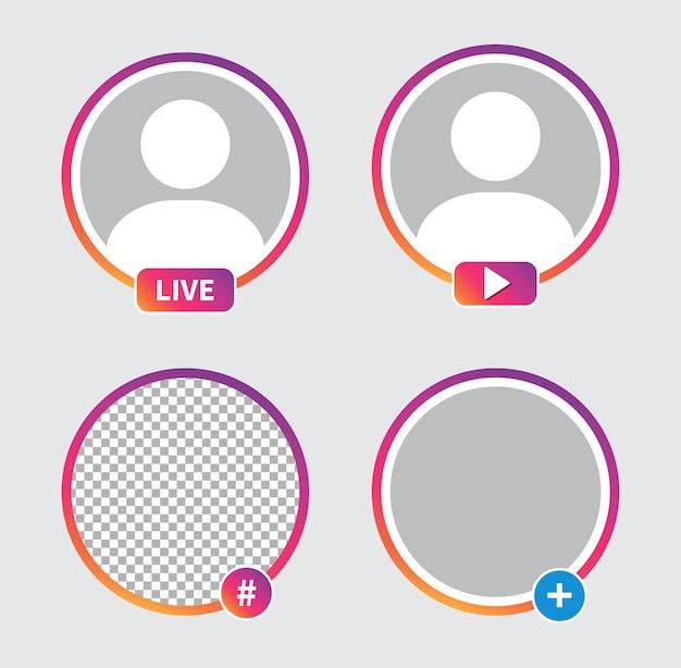 Avatar di icona di social media. streaming video in diretta.
