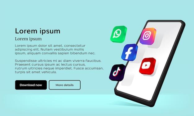 Icona dei social media con il telefono